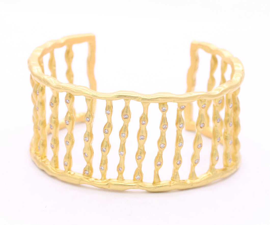 Heavyweight Vintage 18K Gold and Diamond Abstract Cuff Bracelet