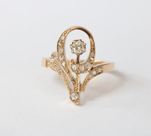 Russian Art Nouveau Diamond and 14K Gold Swirl Tiara Ring