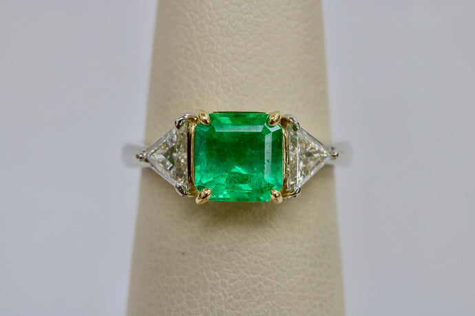 Vintage 2 Carat Emerald and 1.1 Carat Diamond Platinum Alternative Engagement Ring