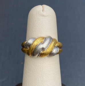 Henry Dunay 18K Yellow Gold and Platinum Bicolor Sabi Thunderbolt Band Ring