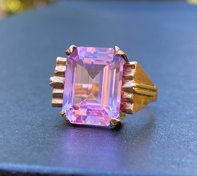Midcentury Man-Made Emerald Cut Pink Stone and 14K Gold Ring