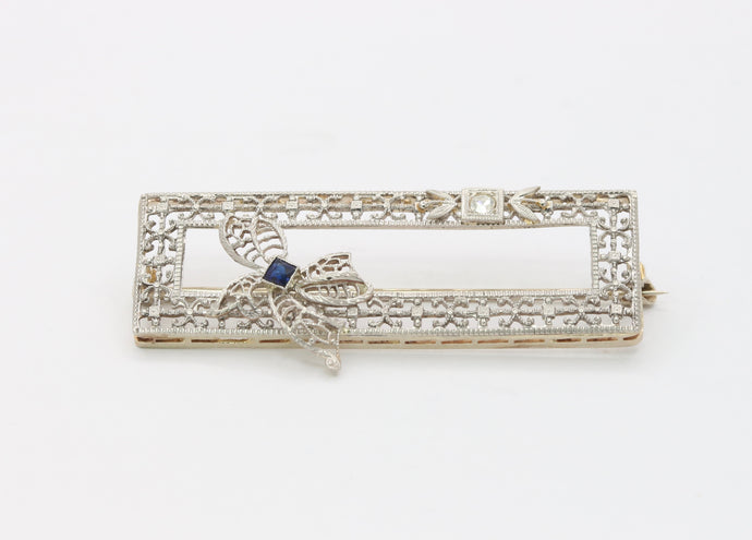Art Deco 14K Gold Sapphire & Diamond Filigree Rectangular Bow Pin
