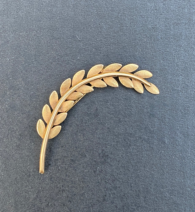 Vintage 14K Gold Laurel Leaf Foliate Brooch, Pin