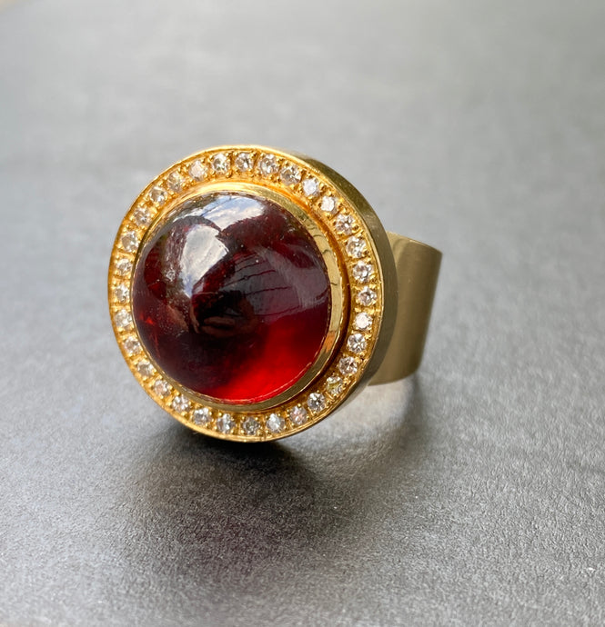 Cabochon Garnet and Diamond Halo Heavy 18K Gold Statement Ring