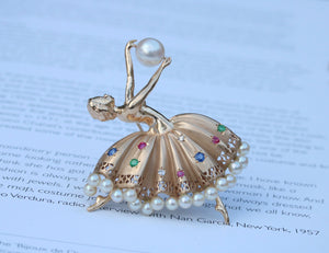 Vintage 14K Gold, Diamond Pearl and Gemstone Ballerina Dancer Brooch Pin
