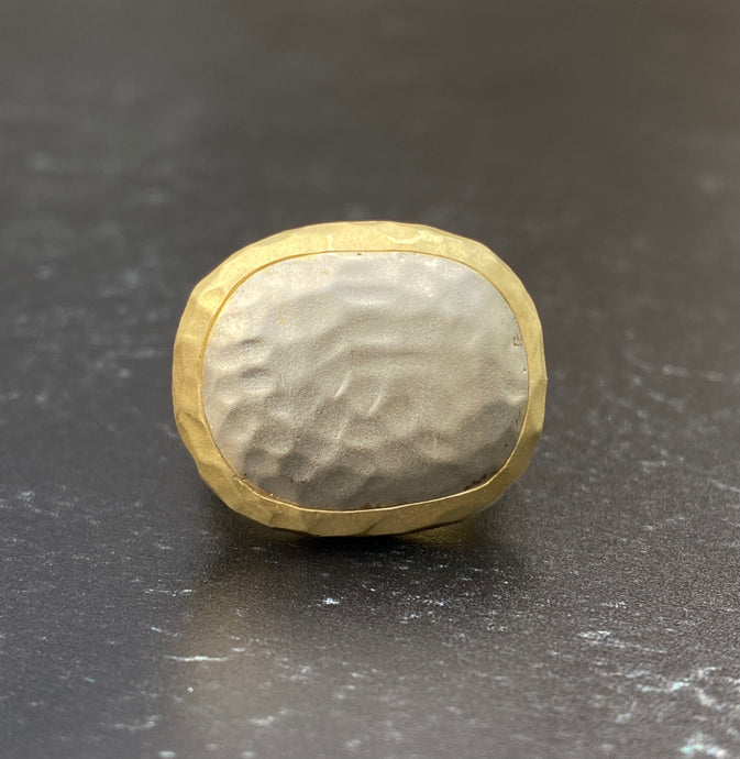 Hand Hammered 18K and 14K Gold Bicolor Statement Ring