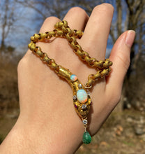 Load image into Gallery viewer, Victorian Opal, Diamond, Emerald 18K Gold Snake Necklace, Statement Chain