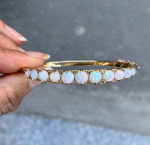 Vintage Australian Opal and Diamond 14K Gold Bangle Stacking Bracelet