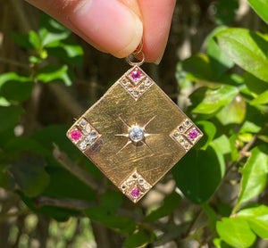 Edwardian 18K Gold Diamond and Ruby Square-Shaped Pendant Charm