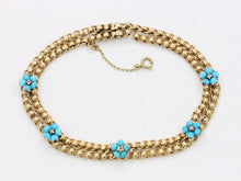 Load image into Gallery viewer, Antique Turquoise and Diamond Forget Me Not Flower 14K Gold Bracelet