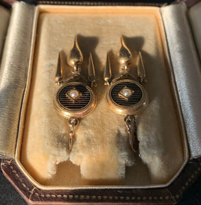 French Victorian 18K Gold, Striped Black Enamel, and Pearl Dangling Earrings