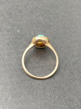 Load image into Gallery viewer, Victorian Australian Opal and Rose Cut Diamond Halo 14K Gold Ring