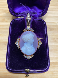 French Victorian 18K Gold and 1.76 Carat Diamond Hardstone Cameo Brooch and Pendant