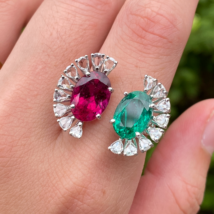 Statement Emerald, Rubellite, and Rose Cut Diamond 18K Gold Fan-Shaped Ring