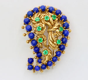 Vintage 18K Gold Lapis Lazuli and Emerald Paisley Brooch Clip