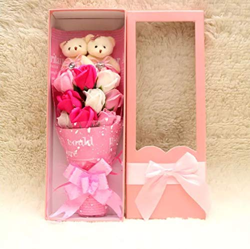 Soft Plush Cute Teddy Rose Bear Bouquet Bath Soap Flower Scented Roses Gift Box Best Perfect Unique Gift Ideas for Valentine Birthday Mother's Father's Day Couple's Anniversary For Her Men (Pink)