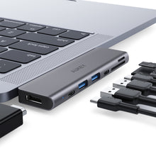 Load image into Gallery viewer, CB-C76 Type C to USB 3.0 7-in-1 Thunderbolt 3 Hub, Aluminium Grey