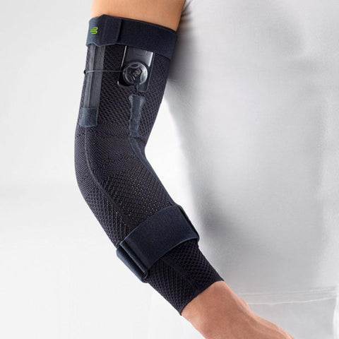 Elbow brace/support having a plain black colour, is wore on right elbow. With the logo of Bauerfeind that is consider as one of their best elbow compression sleeves which is named as Sports Elbow Brace.