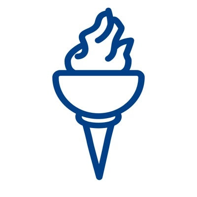 Closed-up logo of a torch in a blue colour and white background that represents the product supplier to athletes by Bauerfeind Australia.