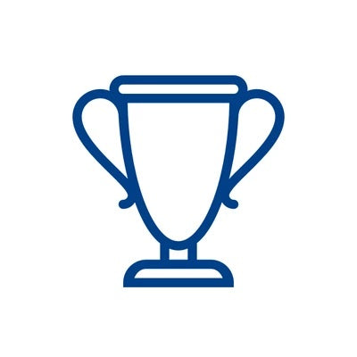 Closed-up logo of a trophy in a blue colour and white background that represents Bauerfeind Australia products as award winning.