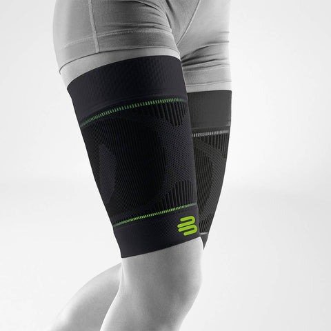 Upper leg compression sleeve to prevent corked thigh during sport