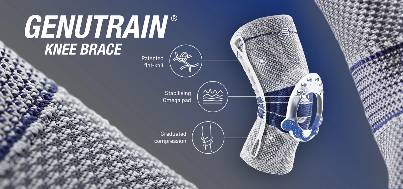 Knee brace in a colour combination of blue and grey, with specification and product detail. It is considered one of Bauerfeind Australia's best recovery braces, GenuTrain Knee Brace.