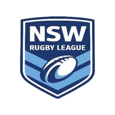 Closed-up logo of NSW rugby league in a blue colour and white background that means Bauerfeind Australia is their official supplier.