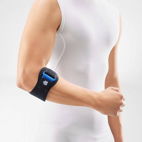 Bauerfeind Sports EpiPoint elbow strap in colour black, to assist with tendon pain from Golfer's Elbow