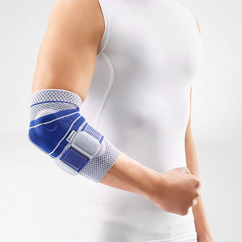 Elbow brace/support having a colour combination of blue and white, is wore on right elbow. With the logo of Bauerfeind that is consider as one of their best elbow compression sleeves which is named as EpiTrain Elbow Brace.