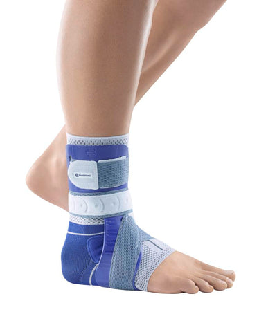 Bauerfeind MalleoLoc L3 ankle brace providing rigid support for strained ankle ligaments