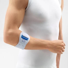 A grey and white colour elbow brace. It is considered one of Bauerfeind Australia's best recovery elbow straps, Epipoint Elbow Strap.