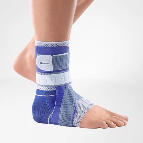 Ankle support in a colour combination of blue and grey and is worn on the right ankle. It is considered one of Bauerfeind Australia's best recovery ankle supports, Malleoloc L3 Ankle Brace.