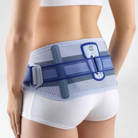 A grey and white colour back brace. It is considered one of Bauerfeind Australia's best recovery back braces, Sacroloc Back Brace.