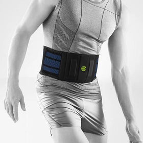 Back brace/support in a colour combination of blue, black, and green with the logo of Bauerfeind Australia and being worn around the person's waist. It is considered as one of the best sports back supports.