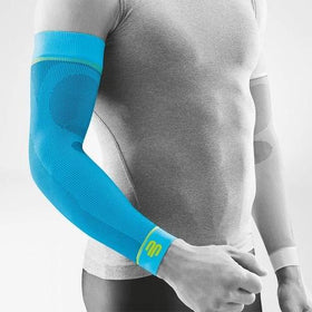 Sports arm compression sleeves having a blue colour, and is wore on right and left arm, it has a logo of Bauerfeind Australia and considered one of their best arm compression sleeves for sports.