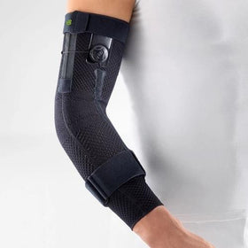 Elbow support in black colour with the logo of Bauerfeind Australia and being worn on the right elbow.  It is considered one of the best Sports Elbow Braces.