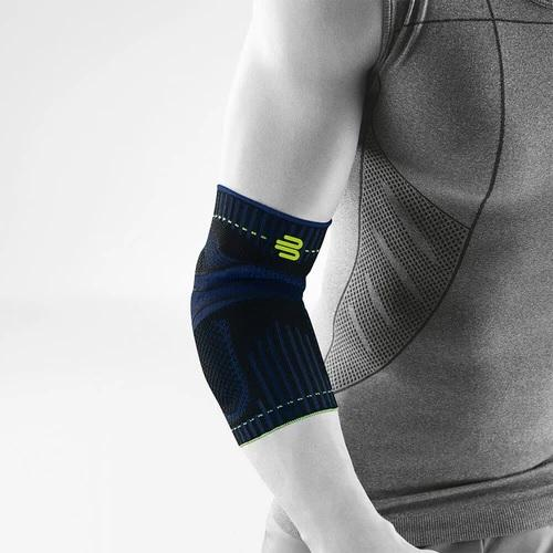 Elbow support in a colour combination of blue, black and green with the logo of Bauerfeind Australia and being worn on the right elbow. It is considered one of the best Sports Elbow Supports.