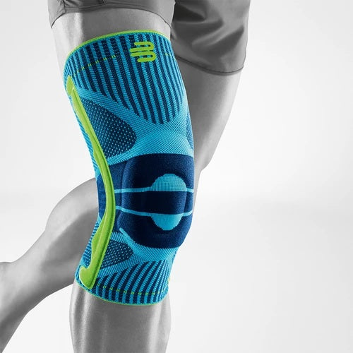 Sports Knee support having a colour combination of blue and green, and is wore on the right knee, it has a logo of Bauerfeind Australia and considered one of the best knee braces for sports.