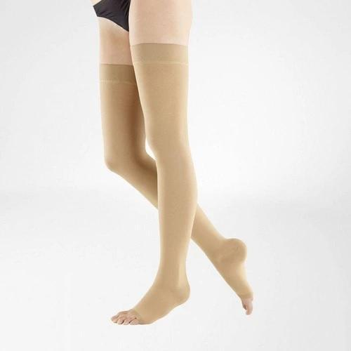 VenoTrain Micro Thigh High Compression Stockings - Caramel Open Toe - Bauerfeind Australia