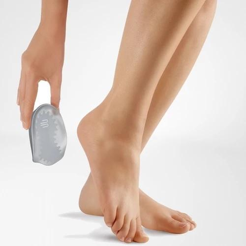 A heel cushion in a colour combination of blue and grey. It is considered one of Bauerfeind Australia's best recovery heel cushions, Vischeel Heel Cushion.