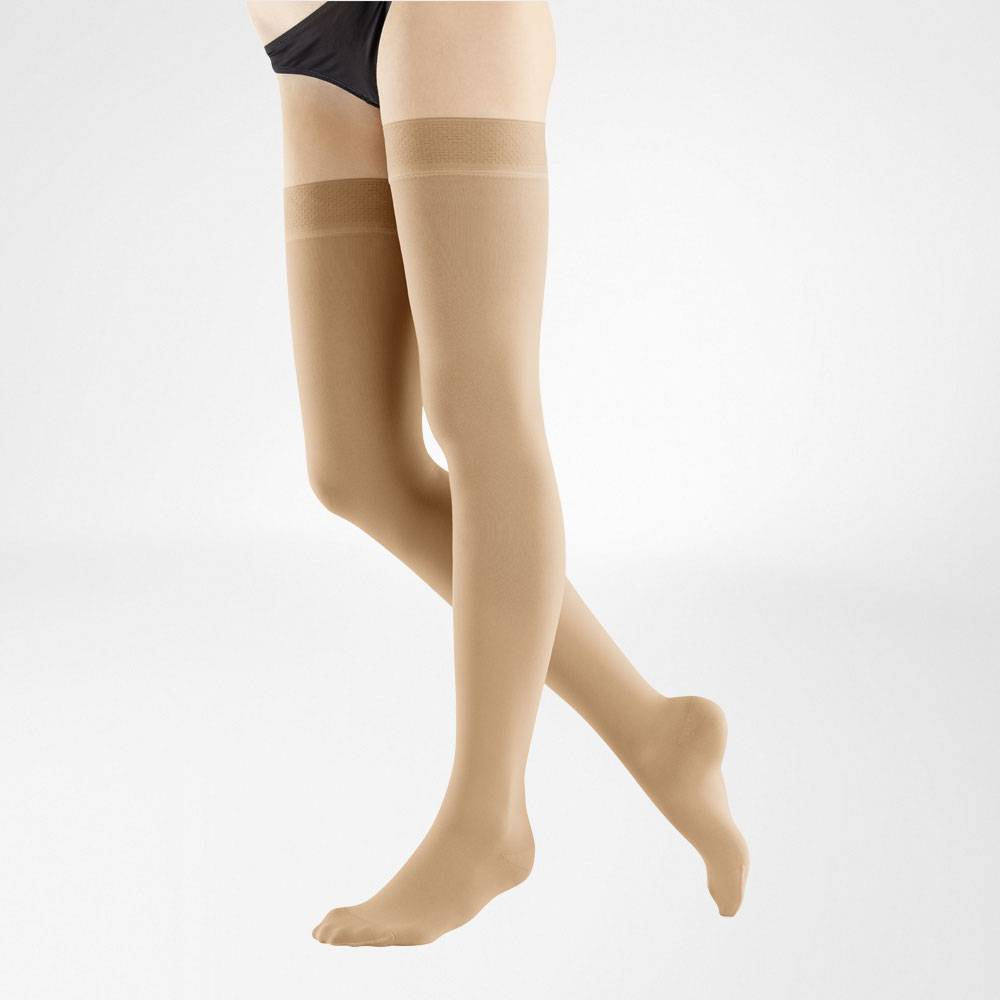 VenoTrain Micro Thigh High Compression Stockings - Caramel - Bauerfeind Australia