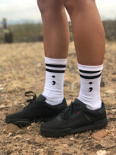 striped semicolon crew sock