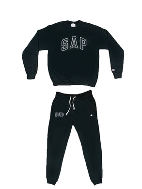 black S.A.P. x Champion track suit