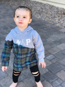 kids gray S.A.P. flannel/hoodie