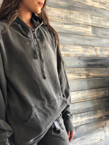 "charcoal ""see the light"" hoodie"