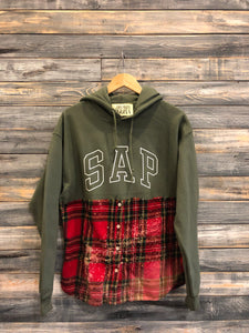 olive/red bleached S.A.P. flannel/hoodie