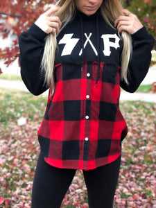 black/buffalo plaid S.A.P. flannel/hoodie