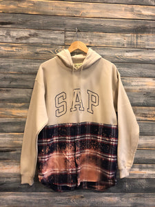 tan/navy bleached S.A.P. flannel/hoodie