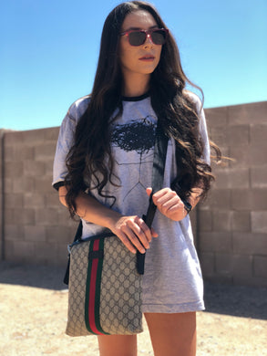 "heather grey / black ""scribble head"" tee"