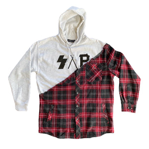 heather gray/red S.A.P. flannel/hoodie
